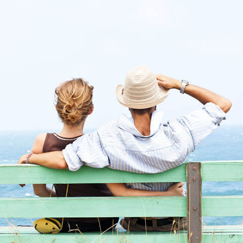 couple sat on bench