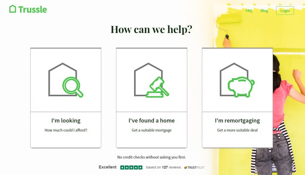 Trussle online mortgages homepage