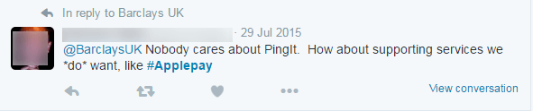 Twitter feed about Pingit