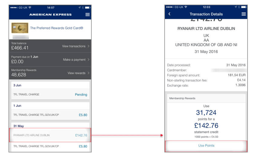 Pay with points in the Amex app