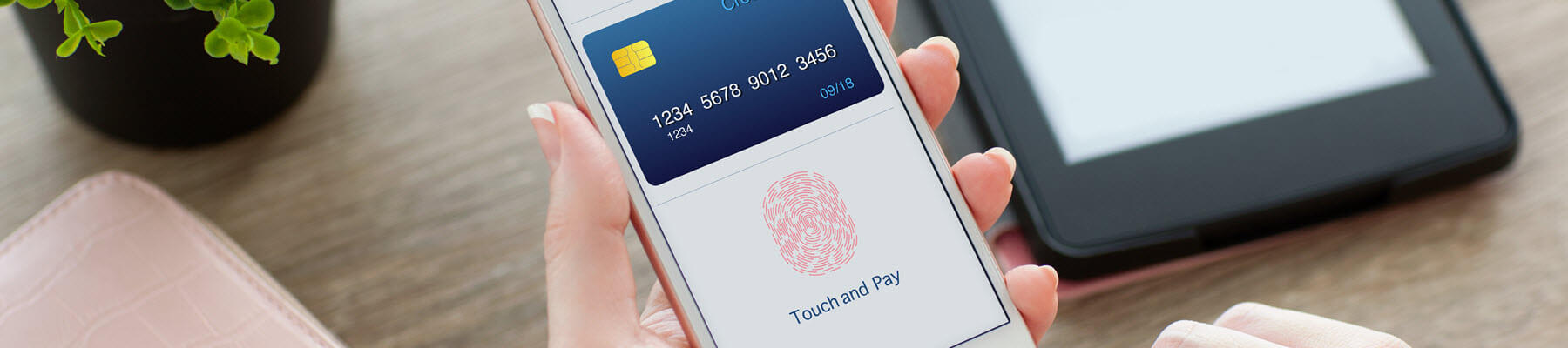 Woman using Touch ID on mobile phone