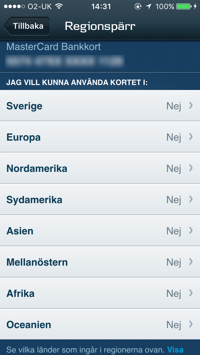 Danske Bank's card-block feature - restrict use in specific countries