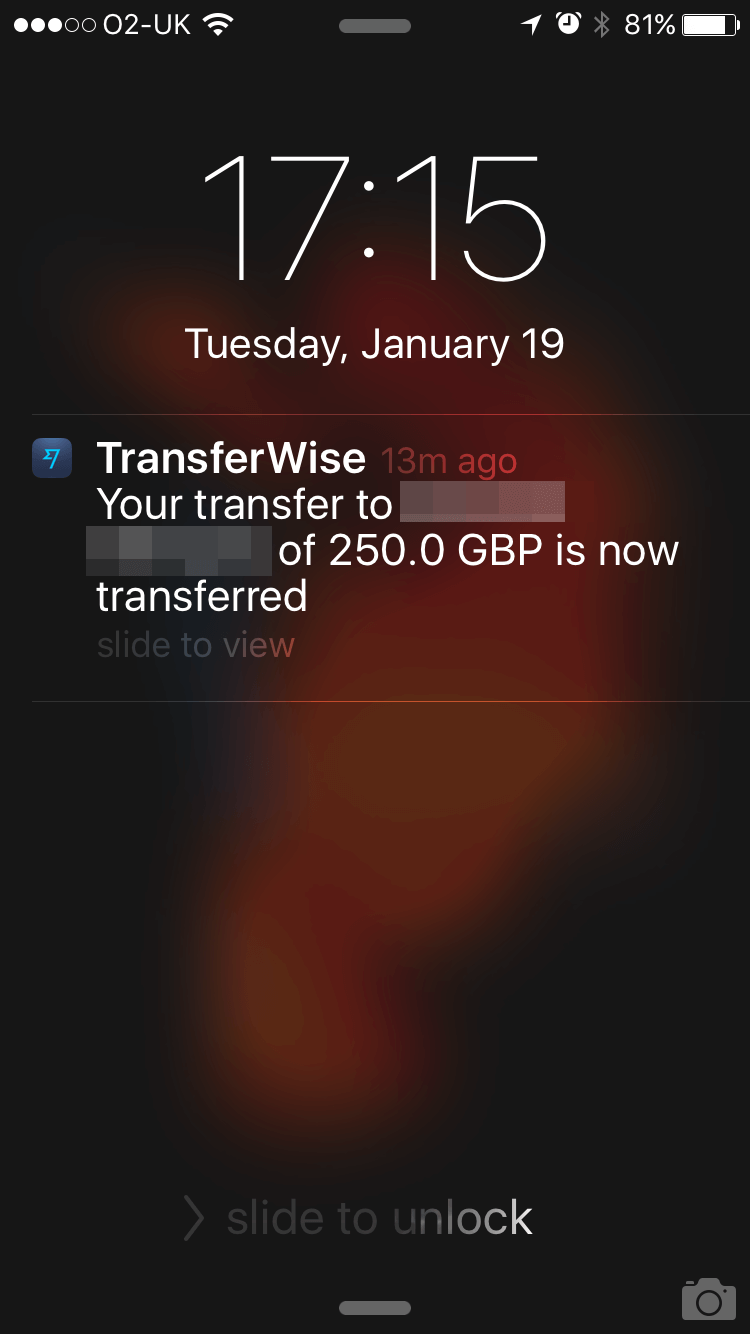 Transferwise payment received