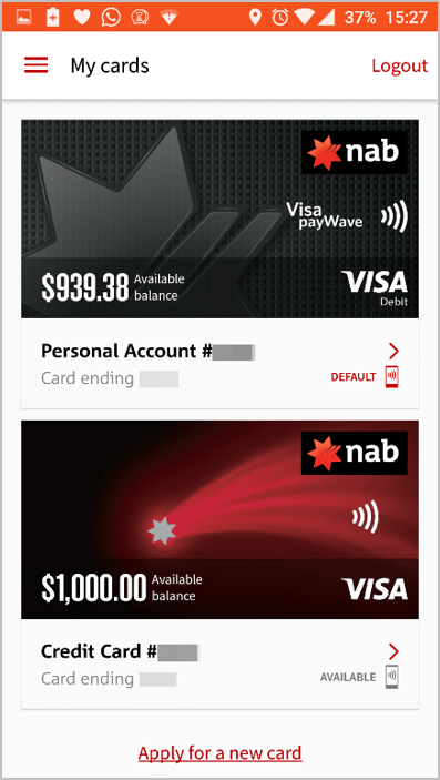 NAB new credit card in wallet