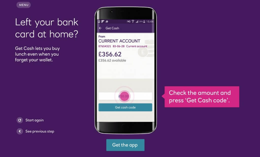 NatWest Android App Get Cash