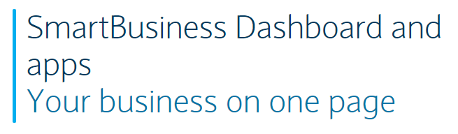 SmartBusiness Dashboard and apps: Your business on one page