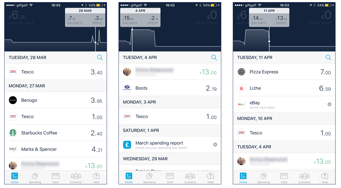 Monzo balance timeline feature