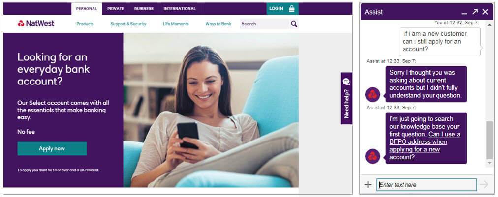 NatWest Assist - website chatbot