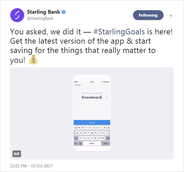 Starling Twitter post: Savings Goals added to app
