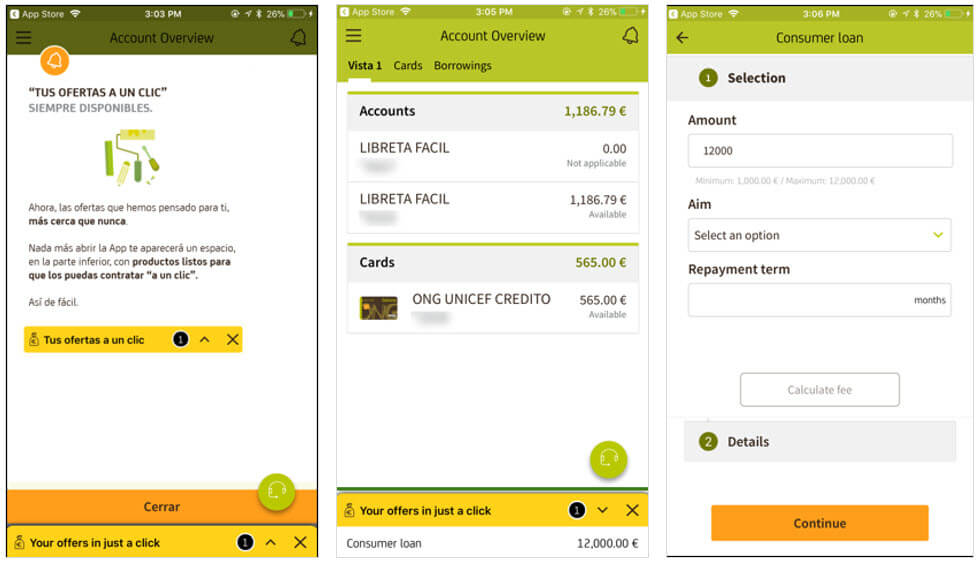 Bankia Banking App: Product Promotions pre-login