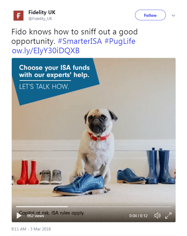 Fidelity ISA Campaign Facebook post